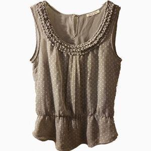 Black Rainn l grey SL peplum picot blouse